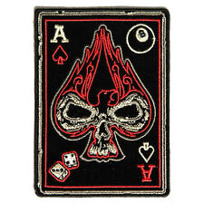 Embroidered Ace of Spades Skull Sew or Iron on Patch Biker Patch