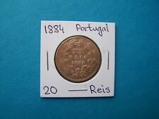 PORTUGAL COINS 1884 YEAR 20 REIS NICE COPPER COIN.