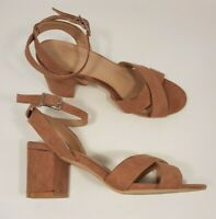 New Look 915 size 3 (36) dusky pink faux suede ankle strap block heel sandals