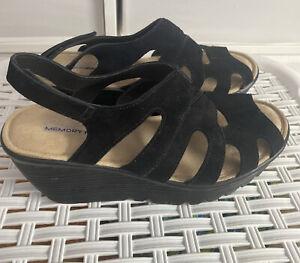 New Skechers Black Suede Memory Foam Wedge Slingback Sandals Size 6.5US 3.5UK