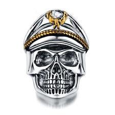 Men's Gothic World War Military Cap Skull Heads Ring Biker Band Rock Size 6-10