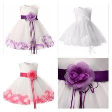 Baby Girls White Dress Dresses Christening Wedding Bridesmaid Flower Girl Petal