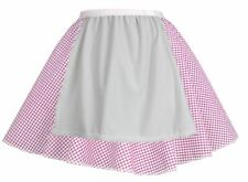 Ladies Pink Gingham Skater Skirt With Apron COWGIRL Easter Fancy Dress