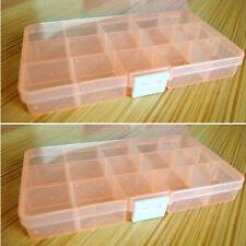 Adjustable 15 Slots Jewelry Storage Box Case Craft Organizer Container Beads New