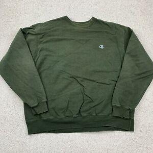 Champion Eco Authentic Sweatshirt Men's 2XL XXL Long Sleeve Green Cotton Blend