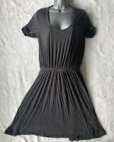 JIGSAW Women's Dark Grey Elasticated Waist Stretchy Jersey Dress. Size Small.
