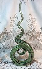 "Vintage Murano Solid Glass Spiral Spire 13+"" Clear, Green & Black W/ Gold Flakes"