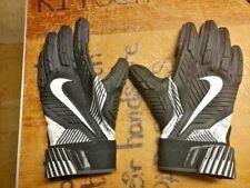 Nike Football Gloves Size M Black, White, Gray Velcro Closure Skulls In Cuffs