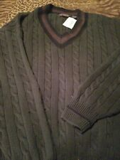 Men cable V neck Sweater Dark Green Size XL