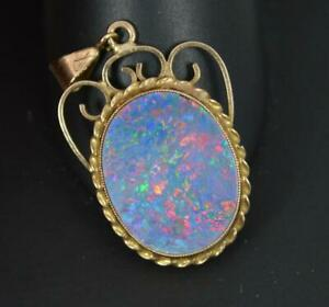 Stunning 9 Carat Gold and Colourful Opal Doublet Pendant