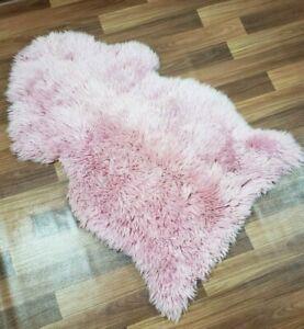 Genuine Real Sheepskin Rug Pink Sheepskin Rug Single Pelt Wool Fur Throw Floor