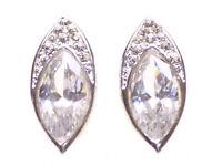 Eye- Catching Oval Leaf Crystal & Diamante Encrusted Ear Stud.(Zx-100)