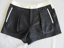 Helmut Lang New York Shorts-Shy Fabric in Old Silver- Leather-Size 8 - NWT $345
