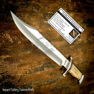 IMPACT CUTLERY RARE CUSTOM D2 BOWIE KNIFE OLIVE WOOD HANDLE