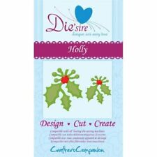 DIE'SIRE HOLLY CUTTING DIE BY CRAFTERS COMPANION - CHRISTMAS DESIGN CUT NEW