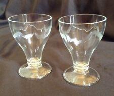 2 VINTAGE EVIAN WATER DRINKING GLASSES TUMBLERS RETRO WINE BAR KITCHENALIA DRINK