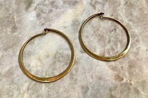 925 Modernist BANANA REPUBLIC Earrings Hoops Gold Filled