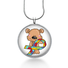 Autism Awareness Bear Necklace - Austin Pendant - Jewelry Gift for Girls