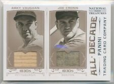 2012 National Treasures All Decade ARKY VAUGHAN JOE CRONIN DUAL BAT JERSEY /25