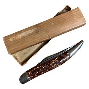 Vintage Imperial Prov. RI USA 2-Blade Fish Fishing Knife Folding Bone with Box