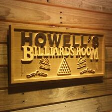wpa0132 Name Personalized Billiards Pool Snooker Room Wood Engraved Wooden Sign