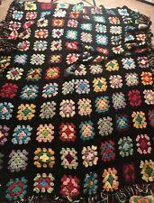 Multi Color GRANNY SQUARE AFGHAN  MCM Blanket Throw 100x68