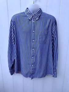 MARKS AND SPENCER Blue Harbour Mens Shirt XXL Blue Striped Long Sleeve A66