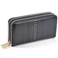 Women Wallet Genuine Leather Organzier Clutch Purse Double Zipper Crocodile