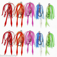 Lot 10pcs Rubber Jig Assist Hooks High Carbon Steel Tied Fishing Hook with Line