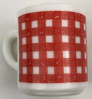 Vintage Checkered Red Gingham MILK GLASS Stackable Coffee Mug Cup