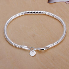"925 Sterling Silver Snake Bracelet Chain Rope 3mm Ladies Charms Gift 8"" UK"