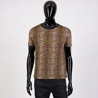 CELINE HOMME 620$ Crewneck Tshirt In Leopard Printed Cotton Jersey