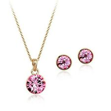 18K GOLD PLATED PINK GENUINE CUBIC ZIRCONIA SOLITAIRE NECKLACE AND EARRING SET