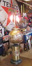 RARE LG VTG Reverse Black Floral Gold Leaf Under Glass Desk Table Lamp UNUSUAL