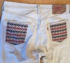 Original Levi's 501XX Denim Jeans W36 (34W Measured) L32 Button Fly Cream/White