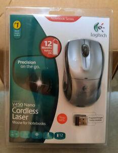 Logitech V450 Nano Cordless Laser Mouse Gray and Black - NEW SEALED