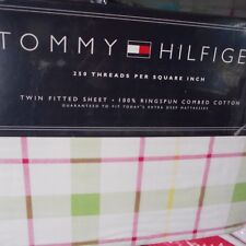 TOMMY HILFIGER Lafayette square TWIN fitted sheet pink green fabric stripe NEW