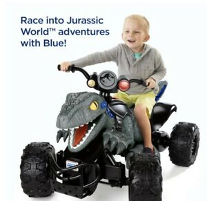 Ride On ATV Jurassic World Dino Racer Kids/Parent Controlled High Speed Lock