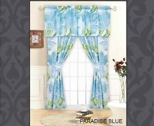 "COASTAL BLUE PALM TREE LEAVES 5p WINDOW DRAPERY PANELS & VALANCE SET 84""L x84""W"