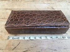 "VINTAGE 1930-50'S MARRONE PELLE CLUTCH-Look a coccodrillo 11"" x 6"" x 2"""