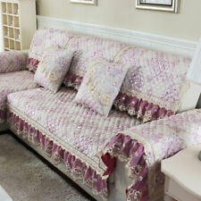 Quilted Lace Floral Sofa Covers for 3/4-Seater Couch Sectional Linen Slipcovers