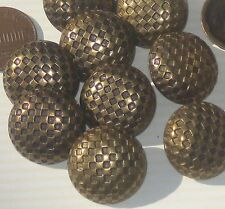 Fancy CHECKERED Set 12 Vintage Antiqued Brass Metal New Buttons 7/8""