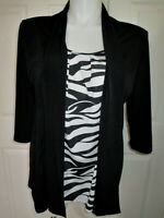 Be Lush Blouse Black & White 3/4 Sleeve Looks Like 2 Pc. Women's Size 1X
