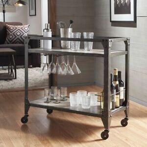Gray Rustic Industrial Rolling Wheels Bar Cart w/Bottle Holder & Wine Glass Rack