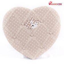 BACHECA MEMO PIN BOARD porta foto CUORE VOLPE tessuto beige cm.43 Shabby chic