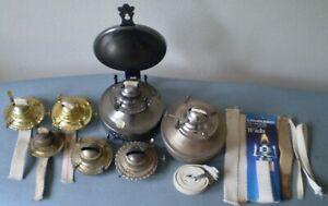 Vintage Antique Oil Kerosene Lamp Replacement Parts Burners Lot Wicks Reflector