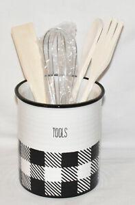 Black White Ceramic Utensil Holder 5pc Kitchen Set Canister Utensils Bundle New