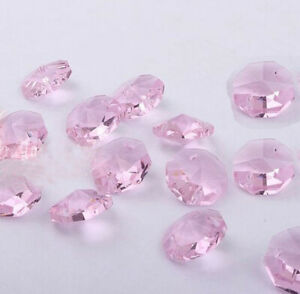 20pcs 14mm Pink Crystal Octagonal beads Decoration Crystal chandelier parts #1