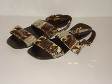 Vince Camuto SIGNATURE Snake Skin Sandals Size 5.5 6 STUDDED GOLD Flats Leather