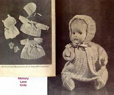 """Baby Doll Layette Clothes Vintage Knitting PATTERN 9.5"""" Dress Undies Hat......OO"""